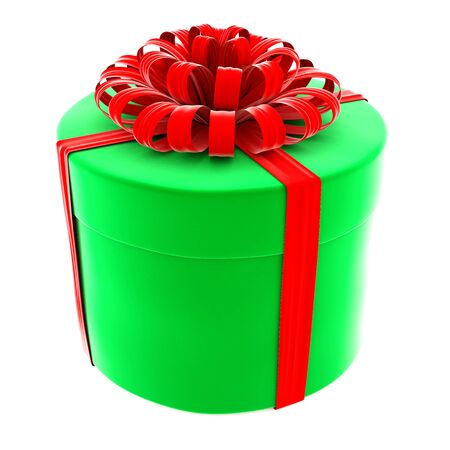 green gift with a red bow. isolated on white. Stock Photo - 16433980