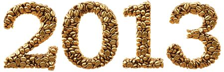 numeration: new 2013 year from gold coffee beans. isolated on white. Stock Photo