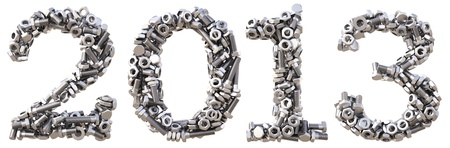 numeration: new 2013 year from the nuts and bolts. isolated on white.