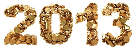 numeration: new 2013 year from the golden coins. isolated on white.