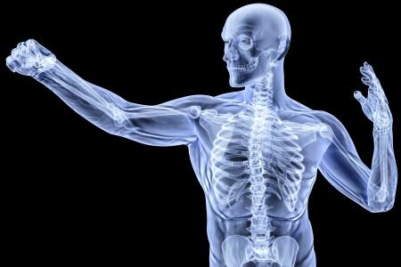 man bezig met een punch in röntgenstraling. geïsoleerd op zwart