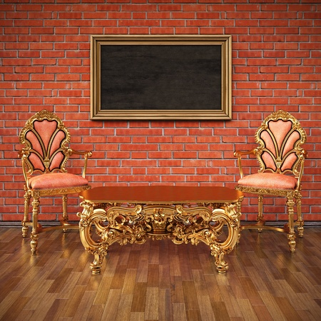 grunge inter with luxuus gold furniture. Stock Photo - 16434007