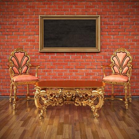 grunge interior: grunge interior con muebles de oro de lujo. Foto de archivo