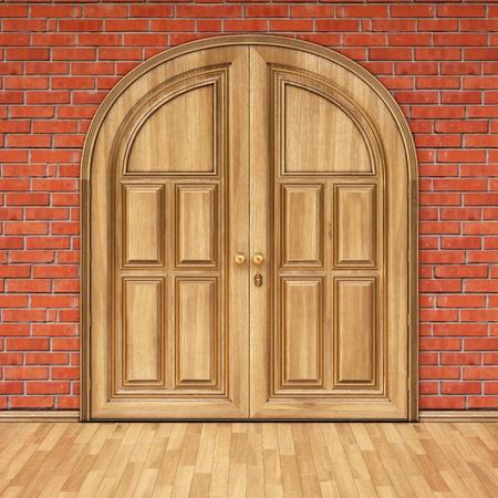wooden door in a brick wall. photo