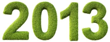 Neuen 2013 Jahre aus dem grünen Gras. isoliert auf weiß. Standard-Bild - 16434011