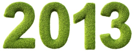 numeration: new 2013 year from the green grass. isolated on white. Stock Photo