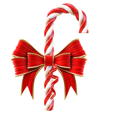 Christmas candy with a red bow  Isolated on white