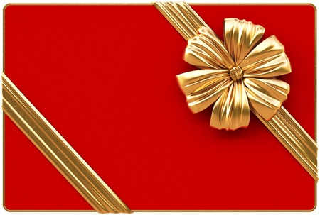 Red Christmas card with golden bow and ribbons  Isolated on white Stock Photo - 16550393