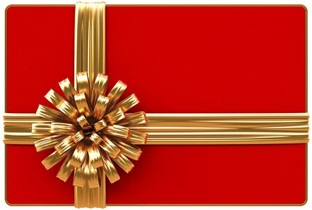 Red Christmas card with golden bow and ribbons  Isolated on white  photo