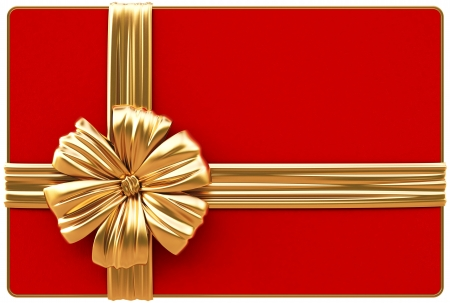 Red Christmas card with golden bow and ribbons  Isolated on white