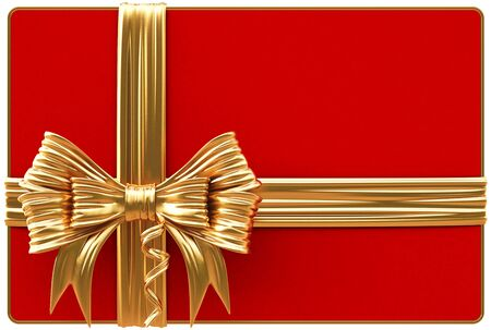 season greetings: Red Christmas card with golden bow and ribbons  Isolated on white