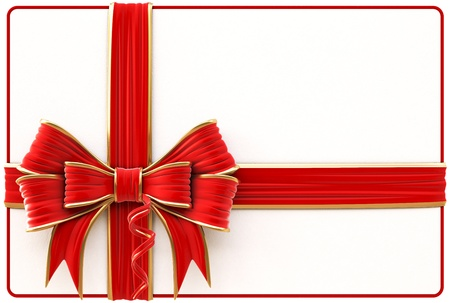 Christmas card with red bow and ribbons  Isolated on white