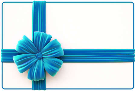 Christmas card with blue bow and ribbons  Isolated on white  Stock Photo - 16550386