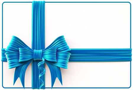 Christmas card with blue bow and ribbons  Isolated on white  Standard-Bild