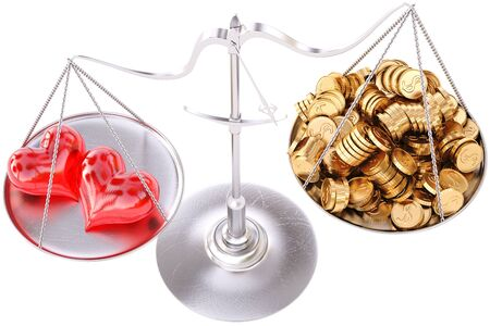 two loving hearts outweigh the pile of gold coins on the scale  isolated on white  photo
