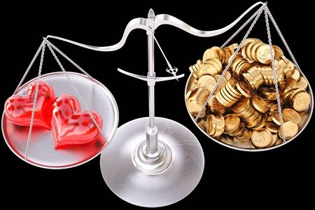 two loving hearts outweigh the pile of gold coins on the scale  isolated on black  Stock Photo - 17282147