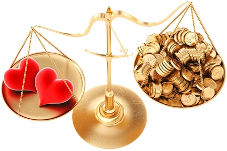 weigher: two loving hearts outweigh the pile of gold coins on the scale  isolated on white  Stock Photo