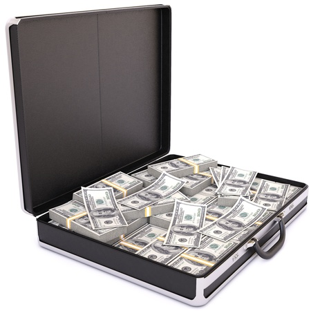 open suitcase: case full of dollar on white background Stock Photo