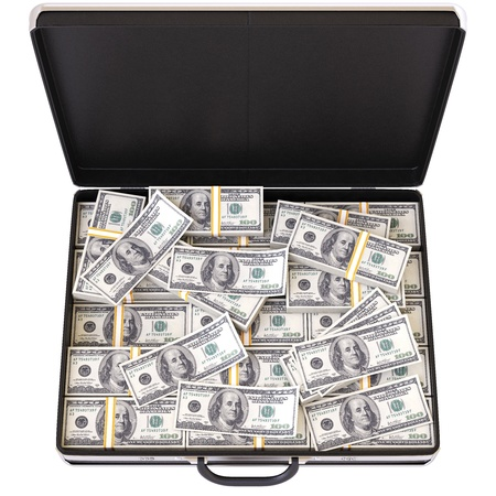 cash box: case full of dollar on white background Stock Photo