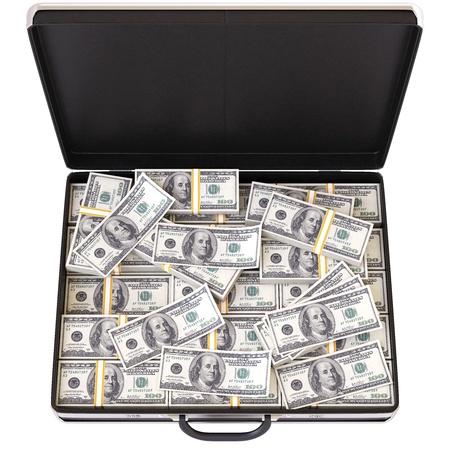 cash money: case full of dollar on white background Stock Photo