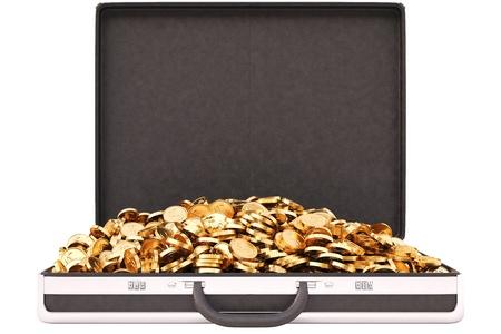 case full of golden coins  isolated on white