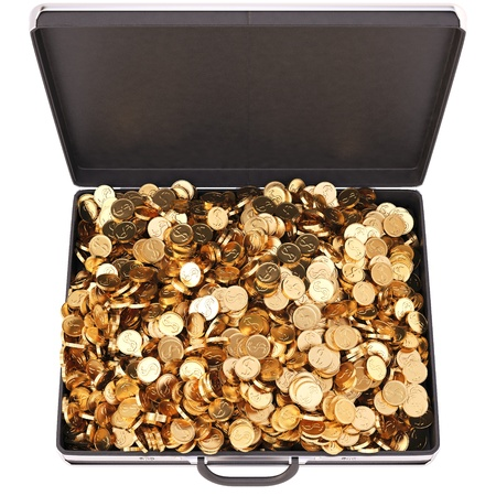 case full of golden coins  isolated on white  photo