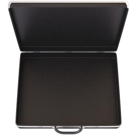 estuche: Estuche negro abierto aislado en blanco