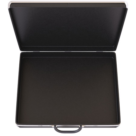 business briefcase: Open black case  Isolated on white
