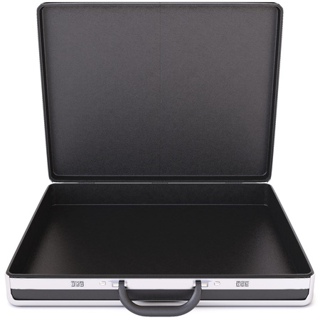 brief case: Open black case  Isolated on white