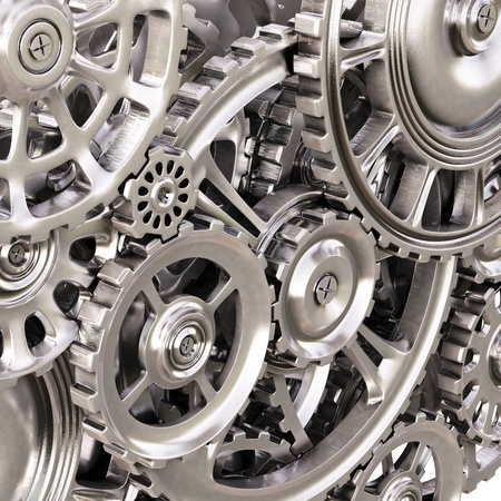 mechanical engineering: abstract background of the metal gears  Stock Photo