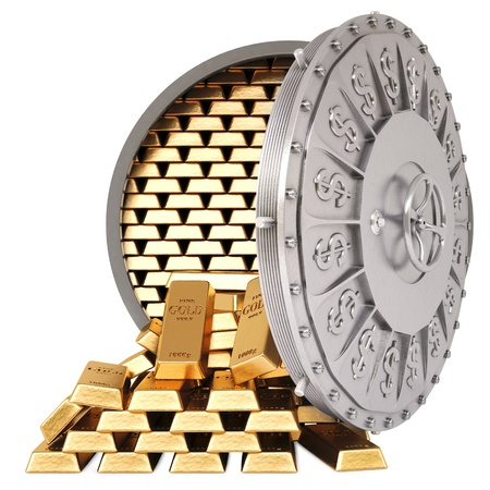 openen van een bankkluis met een gouden passementen geïsoleerd op wit