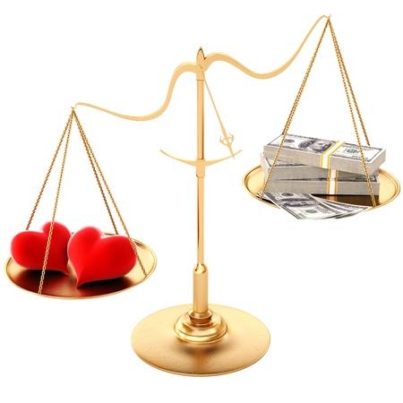 twee liefhebbende harten opwegen tegen het geld. Geïsoleerd op wit. Stockfoto