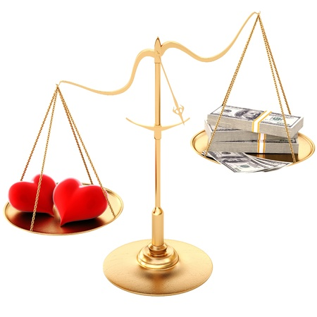 two loving hearts outweigh the money. Isolated on white.