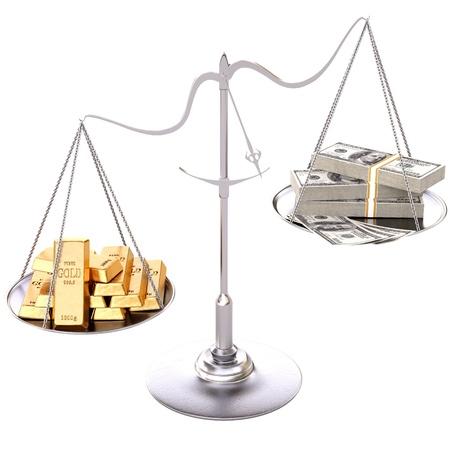 gold bullion: gold bullion heavier paper money. Isolated on white.