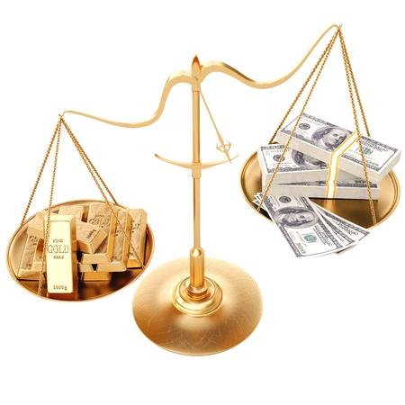 lingotes de oro: lingotes de oro m�s pesado papel moneda. Aislado en blanco.