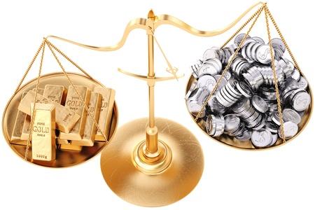 lingote oro: lingotes de oro m�s pesada que las monedas de plata. Aislado en blanco.