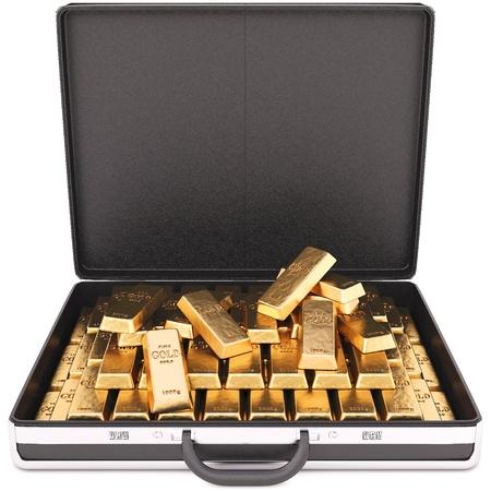 lucky bag: case full of bullions on white background Stock Photo