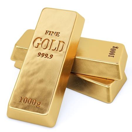 Goldenen Balken auf weißem Isoliert Standard-Bild - 17411212