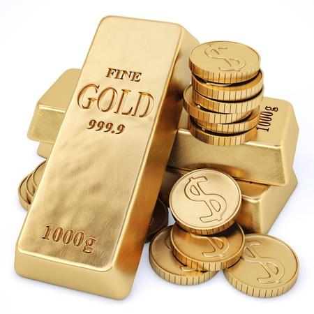 goudstaven en gouden munten geà ¯ soleerd op wit Stockfoto