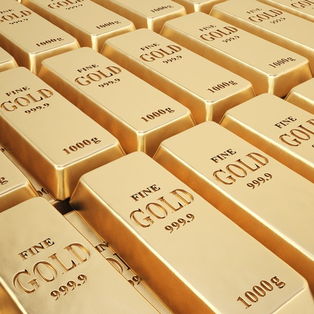 gold ingot: rows of gold bars.