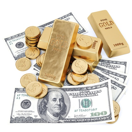 pile of coins: gold bars, coins and paper money. isolated on white.
