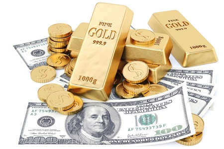 gold bars, coins and paper money. isolated on white.
