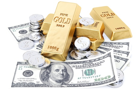 precious metal: gold bars, coins and paper money. isolated on white.