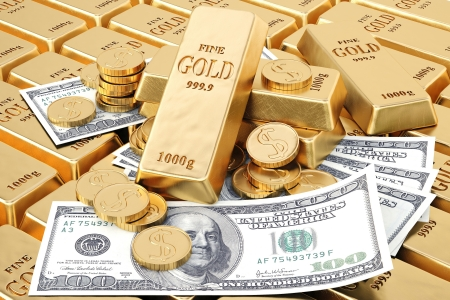 gold bars, gold coins and paper money. photo