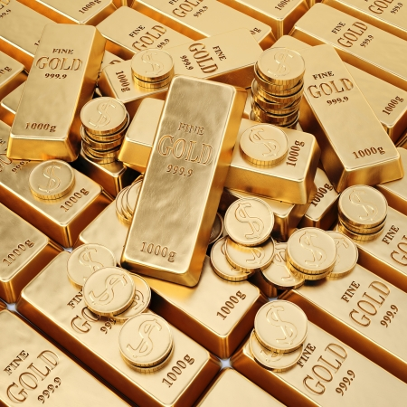 goldbars: gold bars and gold coins. Stock Photo