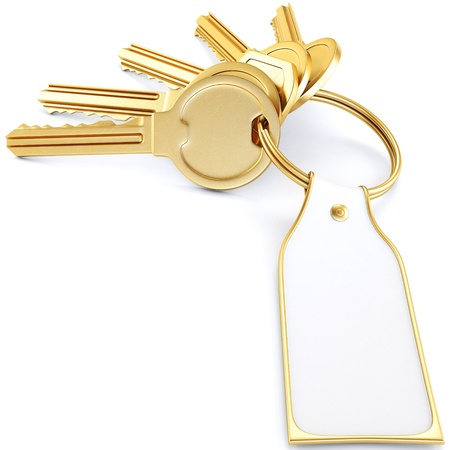 two golden keys with a label. Isolated on white. photo