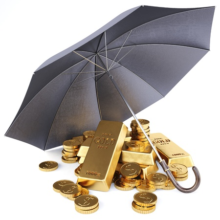 bank protection: gold bars and gold coins under umbrella.