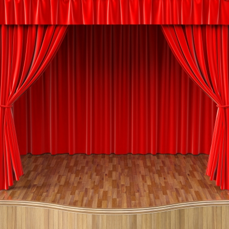 stage with open red curtain photo