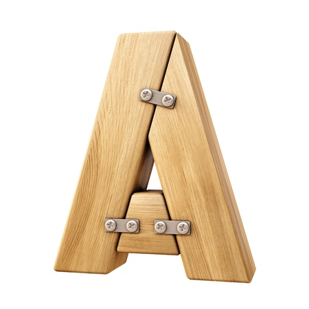 Alphabet from wood. Isolated on white.