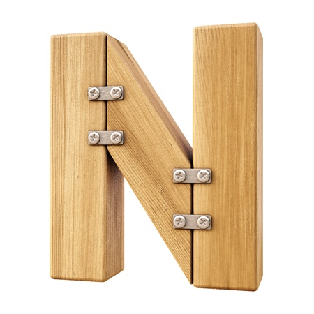 letter n: Alphabet from wood. Isolated on white.
